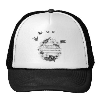 Birds Flying French Sheet Music Flowers Wreath Bir Mesh Hats