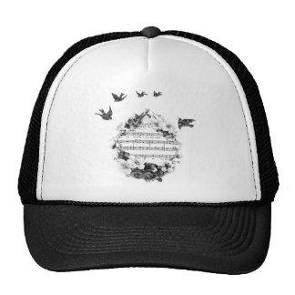 Birds Flying French Sheet Music Flowers Wreath Bir Trucker Hat