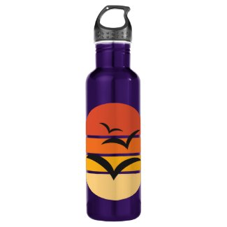 Birds flying in autumn sunset 24oz water bottle