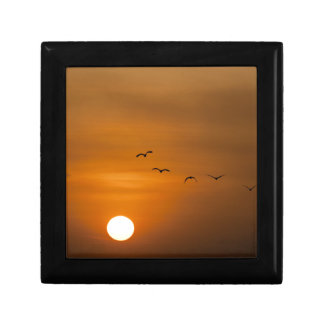 Birds flying in sunset jewelry box