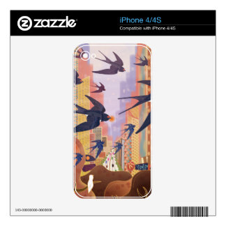 Birds Flying in the City Decal For The iPhone 4S