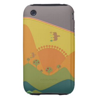 Birds flying over mountains on a Traditional iPhone 3 Tough Case