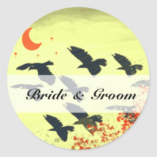 Birds Flying Red Moon Classic Round Sticker
