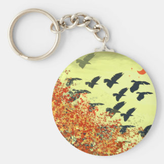 Birds Flying Red Moon Keychain