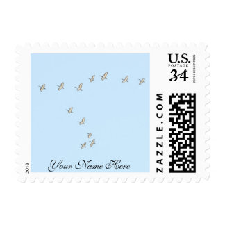 Birds Flying together with name stamp