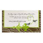 Birds Green Brown Wood Grain  Wedding Info Cards Business Cards