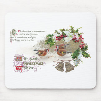 Birds, Holly and Bells Vintage Christmas Mouse Pad