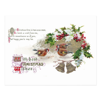 Birds, Holly and Bells Vintage Christmas Postcard