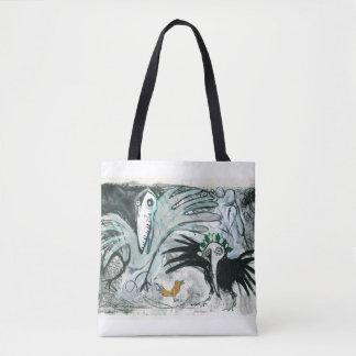 'Birds' illustration tote shopping bag