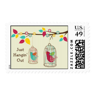 Birds In A Cage Postage Stamp
