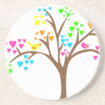 Birds in a Heart Tree Beverage Coaster