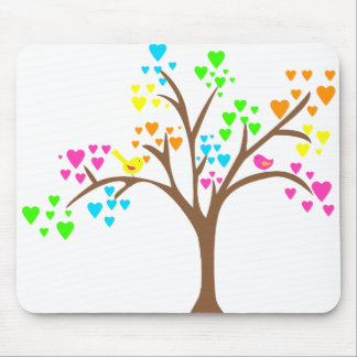 Birds in a Heart Tree Mouse Pads