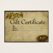 Birds In A Row- Prim Gift Certificate Cards