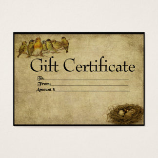 Birds In A Row- Prim Gift Certificate Cards