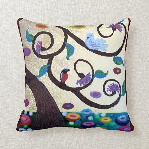 Birds in a tree - art nouveau pillow