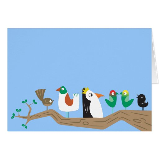 Birds in a Tree Greeting Cards