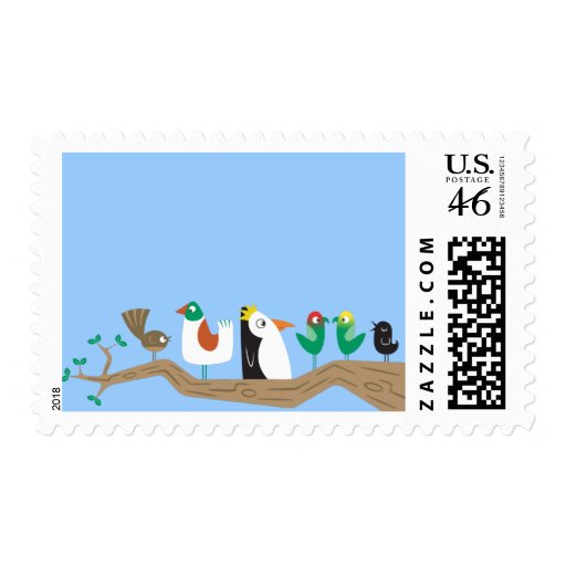 Birds in a Tree Postage Stamp