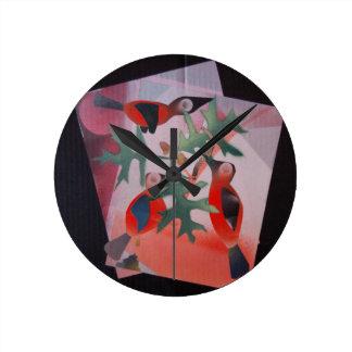 Birds In A Tree Round Clock