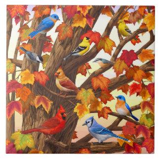 Birds in Autumn Maple Tree Ceramic Tile