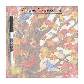 Birds in Autumn Maple Tree Dry-Erase Board