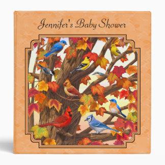 Birds in Autumn Maple Tree Peach Binder