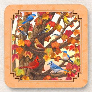 Birds in Autumn Maple Tree Peach Drink Coaster