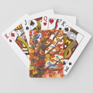 Birds in Autumn Maple Tree Poker Deck