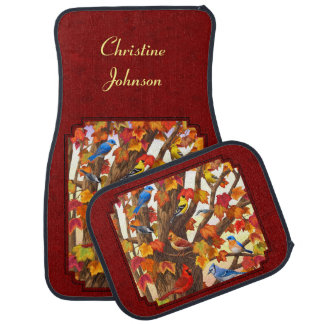 Birds in Autumn Maple Tree Red Car Mat