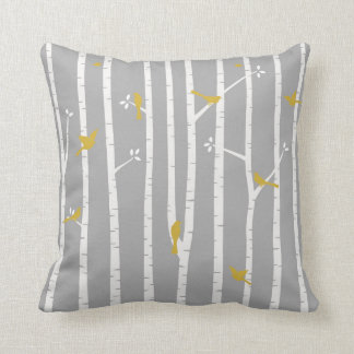 Birds in Birch Trees Grey White Yellow Throw Pillow