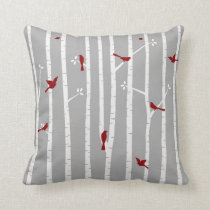 Birds in Birch Trees Red White Grey Throw Pillow