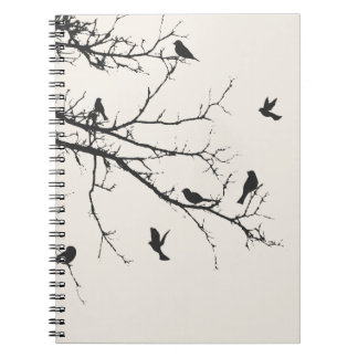 Birds in Black and White Spiral Notebook