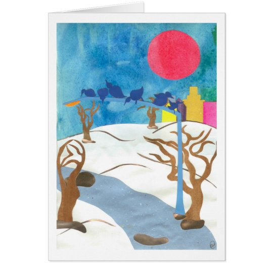 Birds in Central Park at Wintertime Card