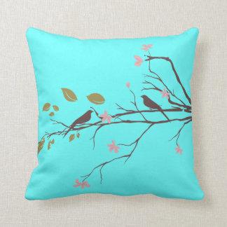 birds in cherry blossom throw pillow