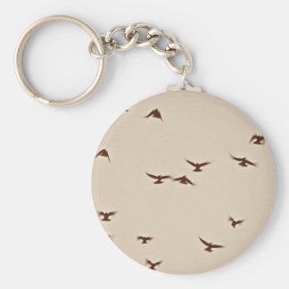 Birds In Flight vintage sepia Keychain