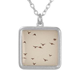 Birds In Flight vintage sepia Necklace