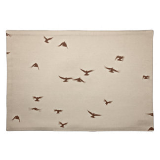 Birds In Flight vintage sepia Placemat