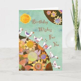 Birds in Flower Land: Birthday Card zazzle_card