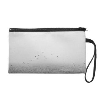 Birds in fog wristlet purse
