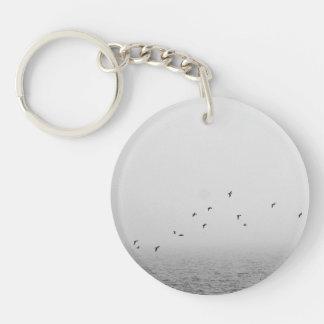 Birds in fog Single-Sided round acrylic keychain