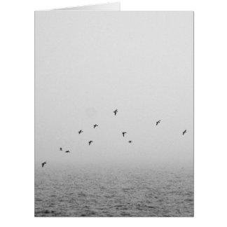 Birds in fog large greeting card