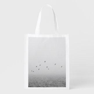 Birds in fog reusable grocery bags
