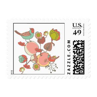 Birds in Fruit Tree Postage Stamp