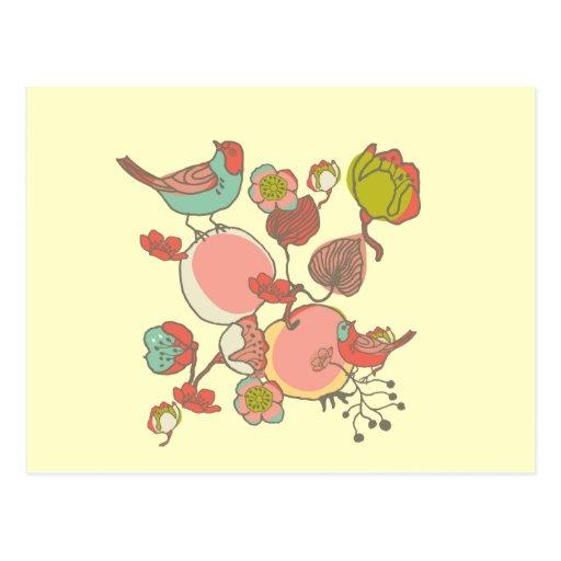 Birds in Fruit Tree Postcard