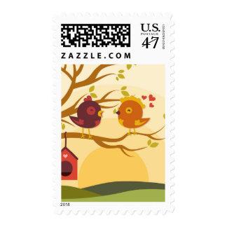 Birds in love for valentine's day - postage stamp