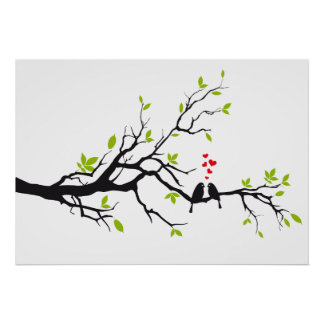 Birds in love with red hearts on spring tree poster