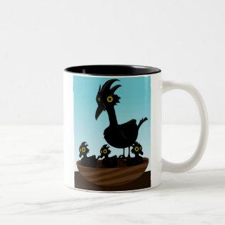Birds in nest Two-Tone coffee mug