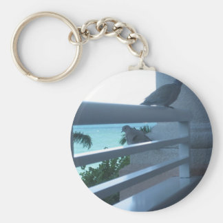 Birds in paradise basic round button keychain
