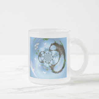 Birds in Paradise Frosted Glass Coffee Mug