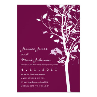 Birds in Plum Tree with Leaves Card