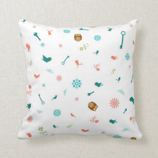 Birds in Polka Dota and Owls with Keys Pillow